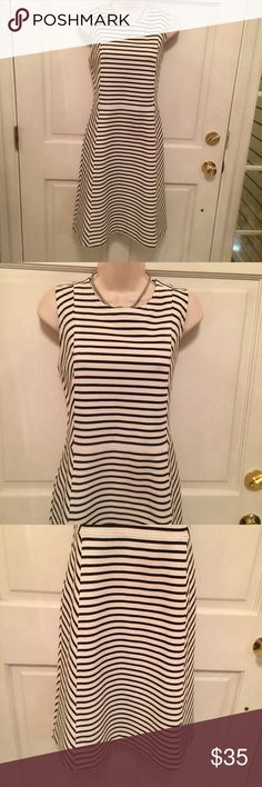 Ann Taylor Ponte Knit Navy Stripped Dress Size 8 Career or special occasion dress by Ann Taylor in a classic style.  The navy stripes contrast nicely with the white background. Ann Taylor Dresses Midi
