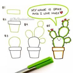 How to draw kawaii cactus step by step