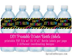 Printable Water Bottle Labels - Drink Labels - Neon Glow in the Dark Birthday Black Pink Lime Blue Yellow Orange - INSTANT DOWNLOAD