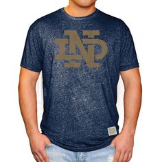 Notre Dame Fighting Irish Original Retro Brand Interlock II School Logo Mock Twist T-Shirt - Navy