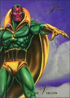 1994 Flair Marvel Annual Behold the Vision Front Marvel Villains, Marvel Comics Art, Marvel Characters, Comic Poster, Comic Art, Comic Books, Marvel Cards, Marvel Heroes, Marvel Cinematic Universe