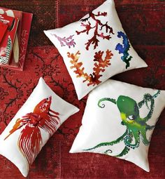 Beta Fish, Octopus, Coral Reef Silk Pillow Cover, from $34