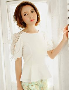 $7.51 Summer New Arrive Lace Splicing Round Collar Blouse