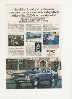 1977 Advertisement Ford Granada Blue 77 70s Muscle by fromjanet