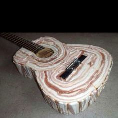 Meat guitar - more accurately, BACON guitar!  I love it when 2 of my favorite things come together!  It just can't get any better than this... unless ... you grill it and serve it with a pepper & mushroom omlette!