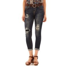 Juniors' Wallflower Curvy Cuffed Ankle Skinny Jeans, Teens, Size: 11, Purple Oth