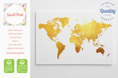 Sale gold world map canvas print free shipping 20x14 home sale gold world map canvas print free shipping 20x14 home decor gumiabroncs Image collections