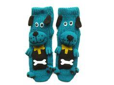 Handmade women socks with animal, anti skid socks,3D socks, house slippers, socks with dog, unique socks, blue socks