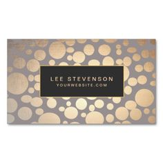 Warm Gray Gold Circles Beauty Salon and Spa Business Card