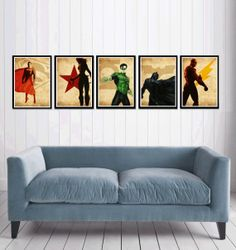 Justice League Poster set by cutejungle on Etsy, $50.00