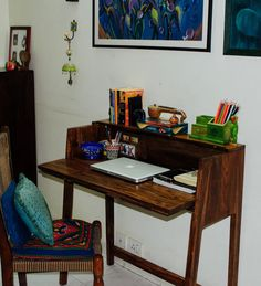 Home office table diy furniture 65 Trendy ideas Desk In Living Room, Cozy Living Rooms, Living Room Decor, Bedroom Desk, Ethnic Home Decor, Indian Home Decor, Home Office Table, Home Office Decor, Wooden Study Table