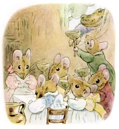 Five Little Mice invited to Mrs. Tittlemouse's party.