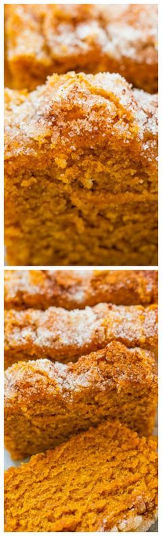 Super soft, tender, moist pumpkin bread with a slightly crunchy cinnamon sugar topping. The mini loaves are EASY, brimming will fall flavors, totally IRRESISTIBLE and accidentally vegan! Fall Desserts, Just Desserts, Delicious Desserts, Dessert Recipes, Yummy Food, Pumpkin Recipes, Fall Recipes, Sweet Recipes, Holiday Recipes