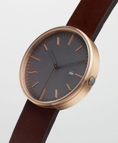 Uniform Wares 203 Series Rose Gold/ Walnut Leather 203/RG-02
