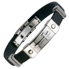 Unique RnB Stainless Steel & Rubber Cross Mens Bracelet Jewelry l RnBJewellery Tungsten Bracelet, Mens Crosses, Affordable Jewelry, Stainless Steel Jewelry, Pallette, Leather Cuffs, Hats For Men, Bracelets For Men, Watches For Men