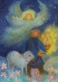 08 Midden in het veld liep een groep met herders. Ineens verscheen er bij de herders een engel van God. Hij vertelde dat Jezus was geboren.