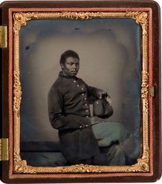 ca. 1860's, [tintype portrait of a Union infantryman with regulation uniform]  via Heritage Auctions