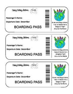 """Christmas Around The World Activity Unit -Print your Happy Holidays Airlines Boarding Pass and your Passport and """"visit"""" countries around the world to learn how they celebrate Christmas!- can change to use in a multicultural music lesson Around The World Theme, Celebration Around The World, Holidays Around The World, Around The Worlds, School Holidays, School Fun, Happy Holidays, December Holidays, Classroom Themes"""