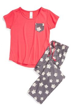 Sleep & Co Big Girls' Pugs 3 Piece Pajama Sleep Set, Pink/Grey, 12 ...