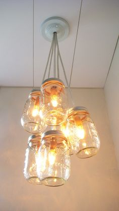 Autumn's Glow - Mason Jar Chandelier Lighting Fixture Mason Jar Lighting - Mason Jar Wedding Accent Light - BootsNGus Chandelier Lamp Design. $130.00, via Etsy.