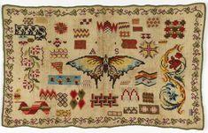 sampler | linen plainweave | wool embroidery: herringbone + cross + cross variation + long armed cross + satin stitch | Italy | c. 19th century