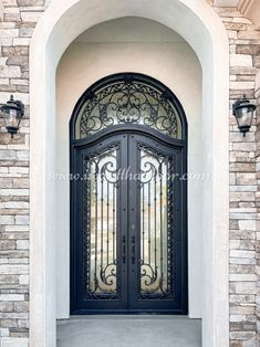 A front door made from wrought iron will help protect your house from intruders! 💡 About this design: Athena Double Entry Iron Door w/Transom ☎️️ 877-205-9418 🌐 www.iwantthatdoor.com Wrought Iron Doors, Big Ben, Building, House, Design, Wrought Iron Gates, Home, Buildings