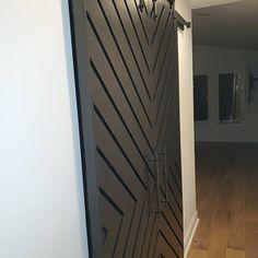 The Doors, Sliding Door Track, Sliding Doors, Stained Table, Barn Door Designs, Chevron, Black Barn, Rustic Hardware, Interior Barn Doors