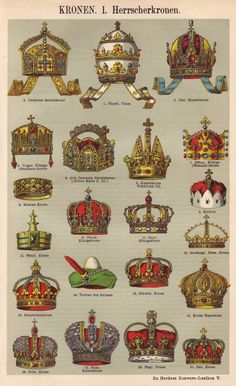 Crowns original 1922 historical print - Royalty, kings, headdress, jewelry - 93 years old German antique book page illustration (A367)