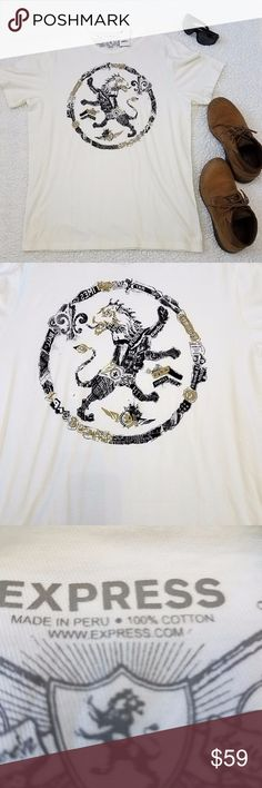 Express Men's Graphic t-shirt ^ Brand new, never worn ^ Received as gift during Christmas ^ This shirt features a lion made out of multiple symbols on the front ^ 100% cotton ^ Pair with your favorite jeans and shoes  ^^^^ There is slight discoloration on the back of the shirt that is hard to get on camera. It's not noticeable to the naked eye, again, this was a gift. Express Shirts Tees - Short Sleeve