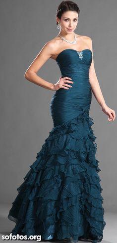 Vestido de festa azul para madrinha ou debutante