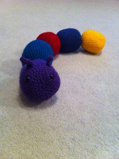 Bell, rustle, squeaky, rattle crochet caterpillar