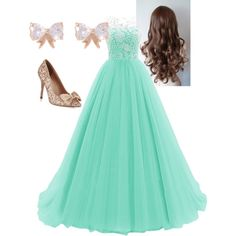 A fashion look from February 2015 featuring long prom dresses, rose gold earrings and curly hair care. Browse and shop related looks.