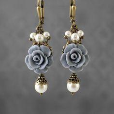 Dusty Blue Resin Rose Earrings Swarovski Pearl by ArdentHearts
