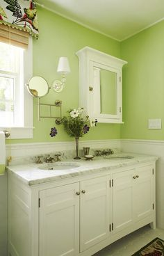 10 The Best Lime Green Paint Colors To Energize Your Space Sea Green Bathrooms, Bright Green Bathroom, Green Bathroom Decor, Green Bathrooms Designs, Beach Bathrooms, Bathroom Colors, Small Bathroom, Bathroom Ideas, Downstairs Bathroom