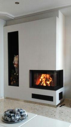 Chimenea esquinera de leña www.leguaartesanos.es Home Decor, Modern Fireplaces, Wood Stoves, Ovens, Living Room, Dining Room, Trendy Tree, Home, Houses
