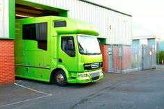 Stunning 3 stage pearl green metallic paint on one of our #horseboxes. #HorseHour