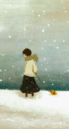 Winter: Sweet Illustrated Storytime :: Illustration by Tashika Yui :: Nostalgie Art And Illustration, Illustration Mignonne, Book Illustrations, Art Fantaisiste, Art Carte, Inspiration Art, Art Design, Whimsical Art, Oeuvre D'art