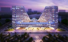 Open hand by JDS architects rises above qingdao in china