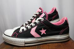 Converse All Stars Black & Pink Canvas Athletic Shoes Women 9 #Converse…