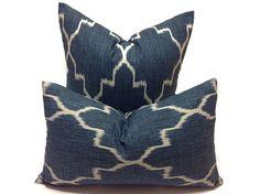 Geometric  Pillow Shams  Lattice Blue  One  Decorative by DEKOWE
