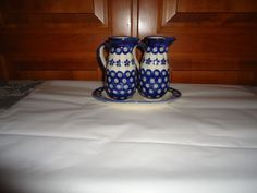 Vintage Polish Pottery Boleslawiec Oil/Vinegar Cruets with Tray. Poland