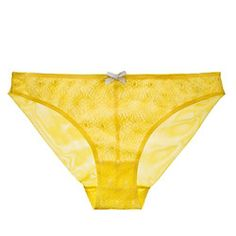 $34 This bold citron yellow, floral daisy-chain lace, rolled hem (invisible!) on the sheer bum (visible!) bikini is perfect for a throwback. Fast-forward 1977 to right now.