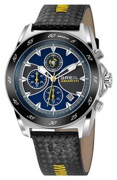Breil 'Abarth' Chronograph Textured Leather Strap Watch, 52mm | Nordstrom