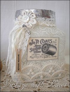 Upcycled: Thread Catcher - Jar with soldered rim, lace and vintage image