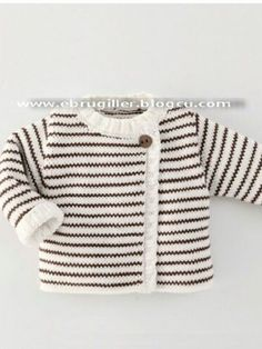 Baby Knitting Patterns Sweter Çeket [ 'Ide til Grete', 'Simple cardigan with stripes' ] # # Baby Knitting Patterns, Knitting For Kids, Crochet For Kids, Baby Patterns, Crochet Baby, Knit Crochet, Baby Outfits, Kids Outfits, Knit Baby Sweaters