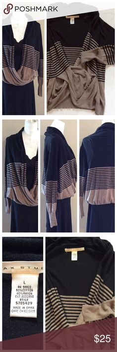"""Wrap Sweater Beautiful sweater, long sleeves and faux front wrap. Black and brown hues match everything, loose style is comfortable and easy to wear. Tag says size L, fits generous. Approximately 20"""" chest and 22"""" length. By Max Studio Sweaters"""