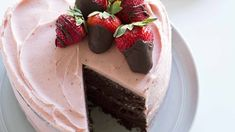 Heart-Shaped Chocolate Strawberry Cake