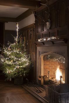 A simple old fashioned Christmas tree next to an open fire. So nice! via I hope this paneled room is a library. Source by TheDayHitNight fashion christmas
