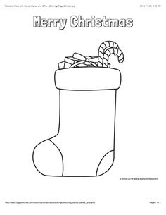 """Christmas coloring page with a large stocking filled with candy and gifts, and the words """"Merry Christmas"""""""