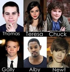 Cast of The Maze Runner. Chuck, Gally, and Teresa are pretty much how I imagined them. Gosh I'm so excited!!!!!